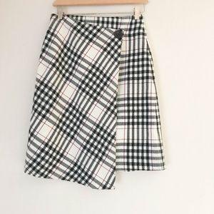 Tailor B Moss Wool Blend Plaid Skirt Women Size 2